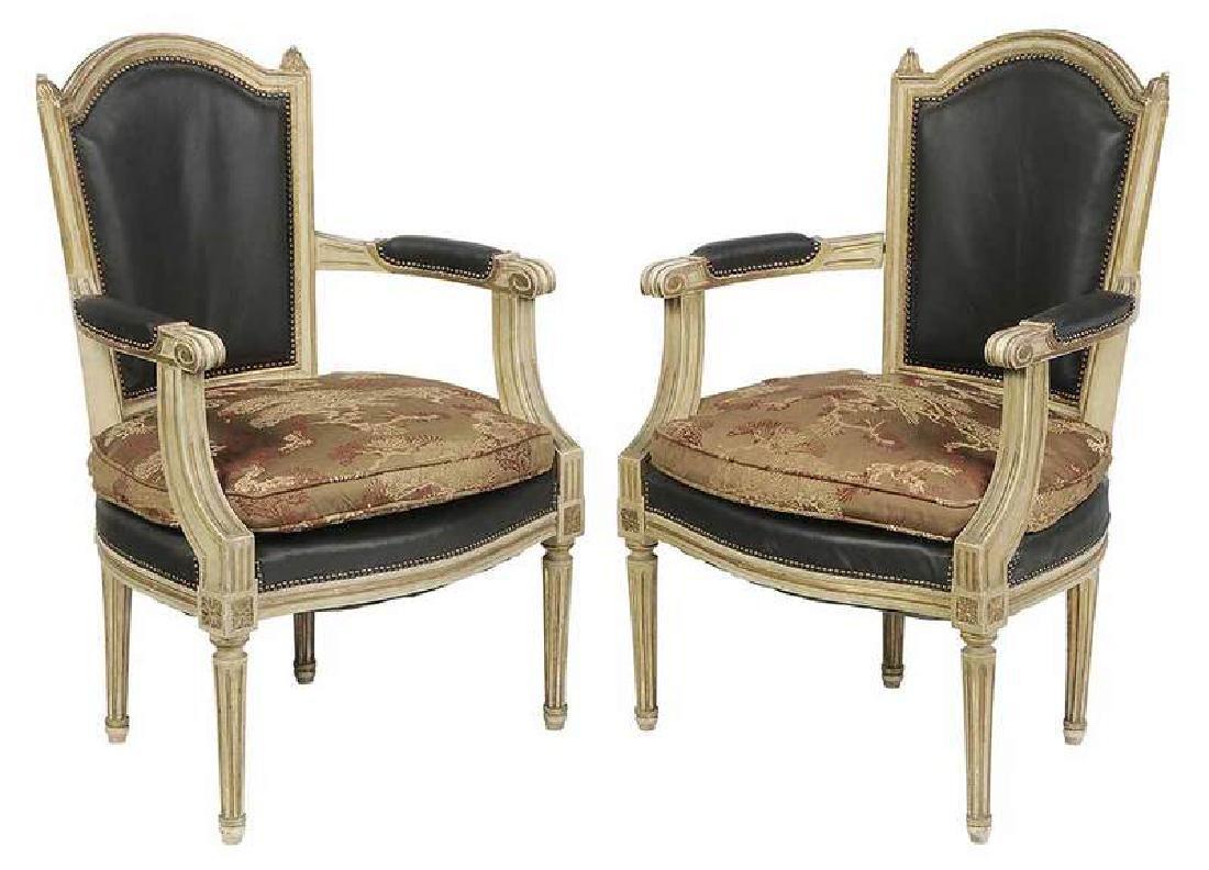 Pair Louis XVI Style Parcel Gilt Open Arm Chairs
