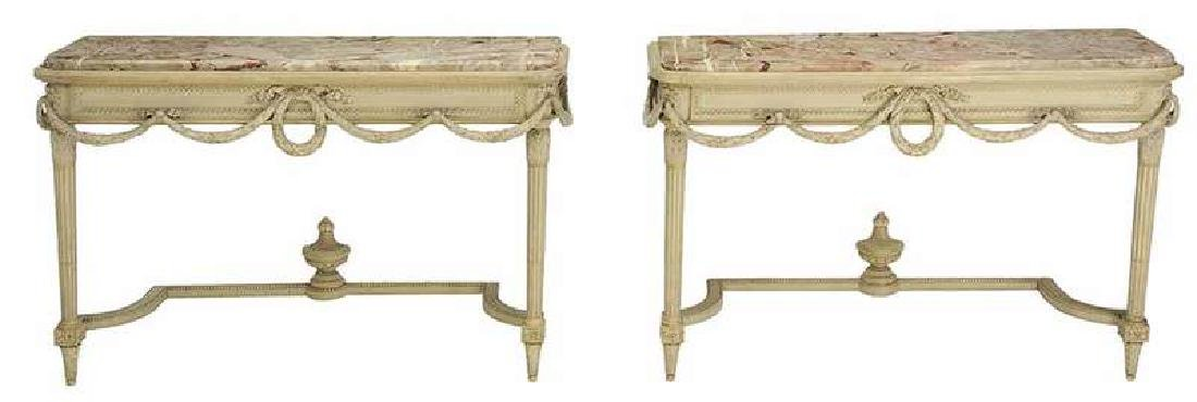 Pair of Louis XVI Style Marble Top Pier Tables