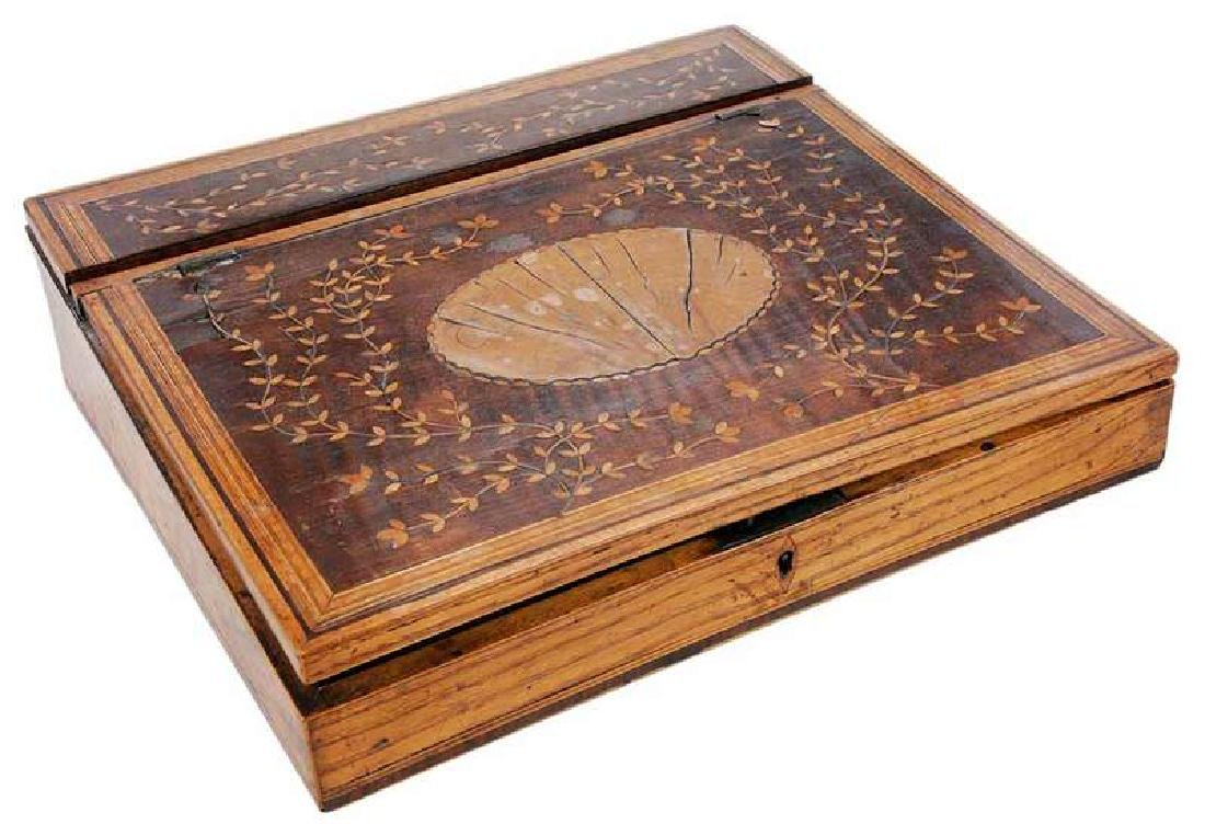 19th Century Marquetry Burlwood Writing Box