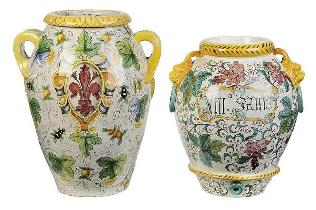 Two Monumental  Italian Majolica Jars
