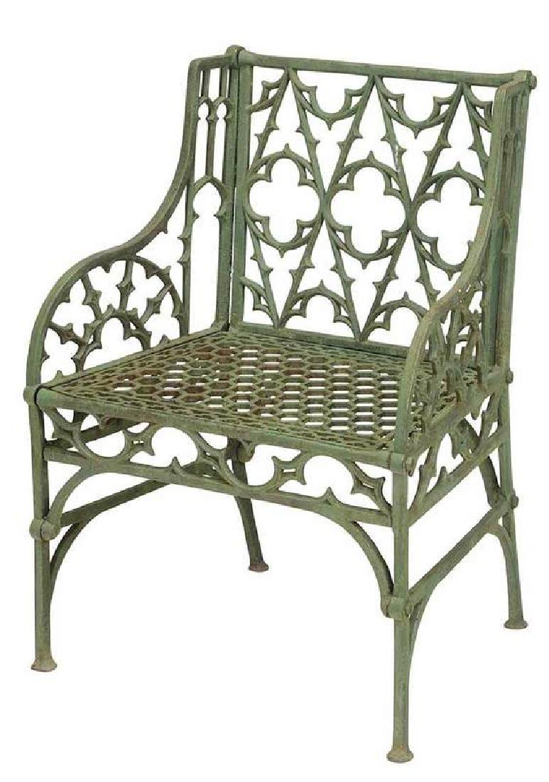 Gothic Revival Painted Cast Iron Garden Chair