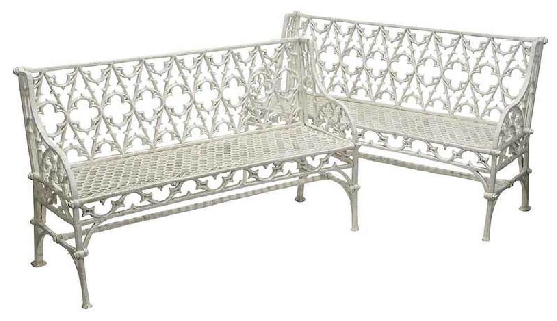 Pair Gothic Revival Cast Iron Garden Benches