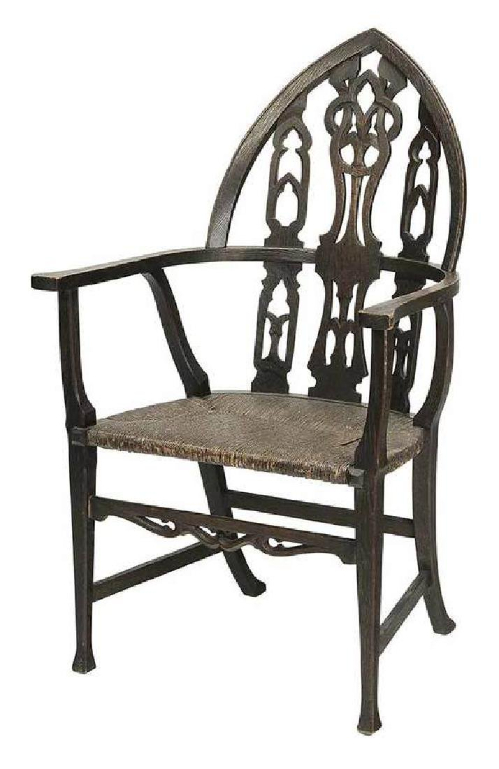 Gothic Style Carved Oak Arm Chair