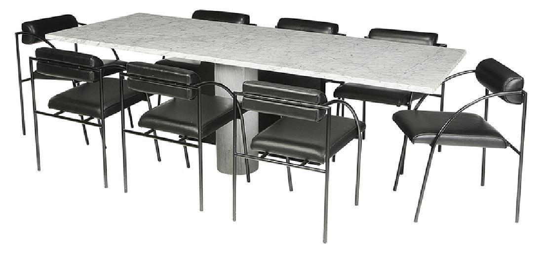 Fine Contemporary Marble Dining Table, Chairs
