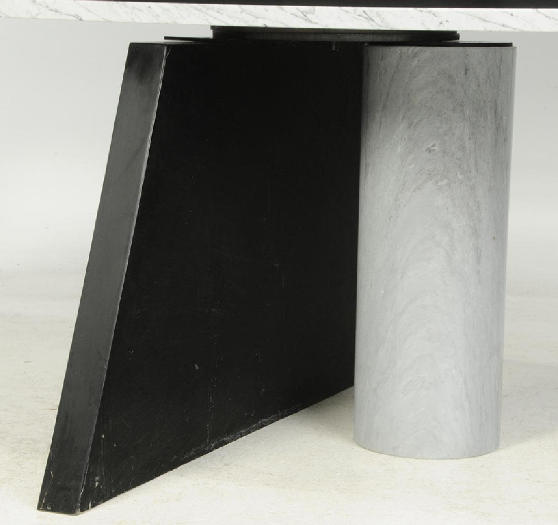 Fine Contemporary Marble Dining Table, Chairs - 2
