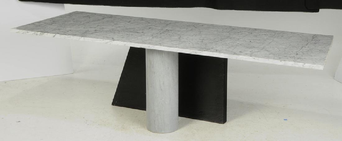 Fine Contemporary Marble Dining Table, Chairs - 5