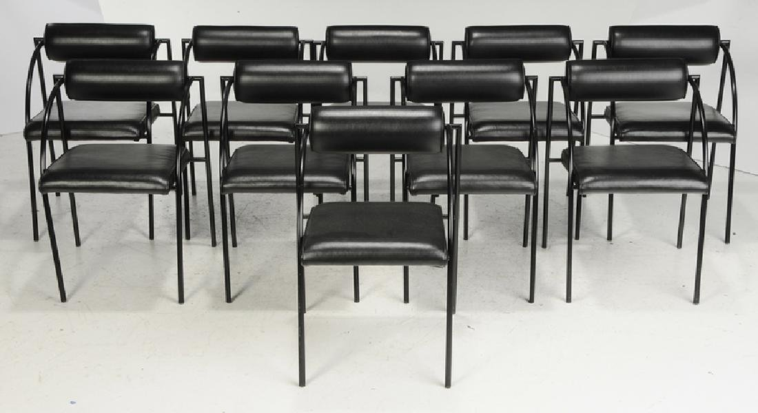 Fine Contemporary Marble Dining Table, Chairs - 6