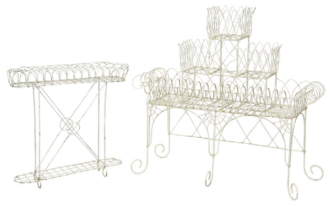 Two White Painted Wire Work Plant Stands