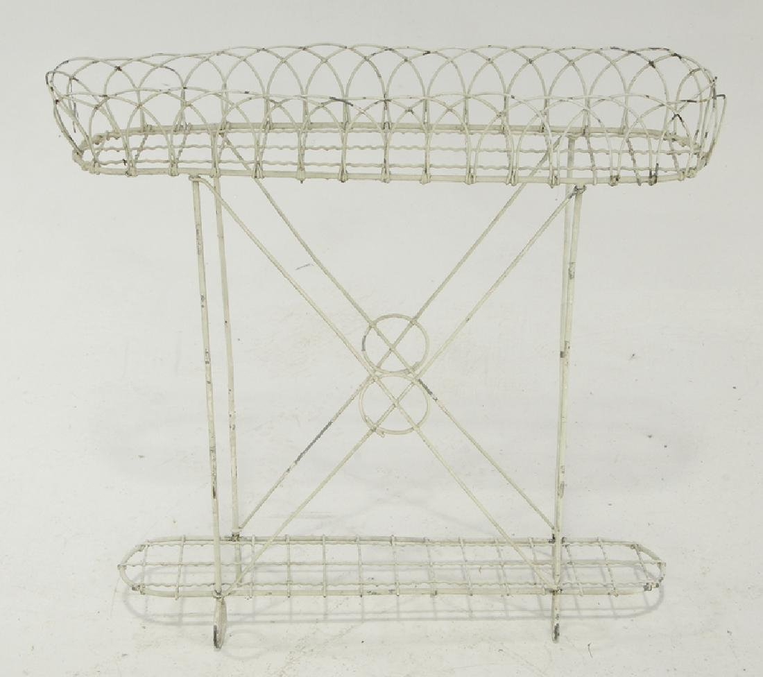 Two White Painted Wire Work Plant Stands - 4