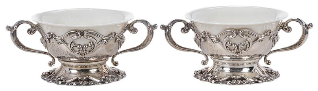 Set of Twelve Sterling and Ceramic Desserts