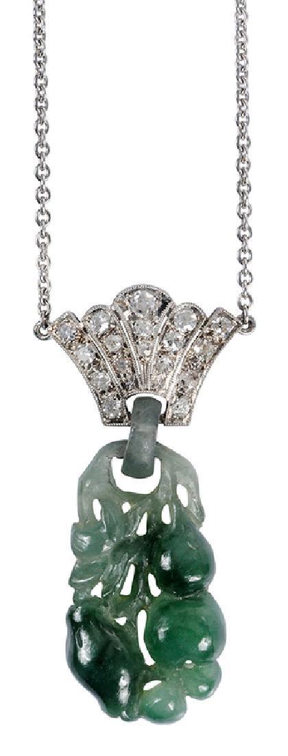 Platinum, Diamond & Jade Pendant