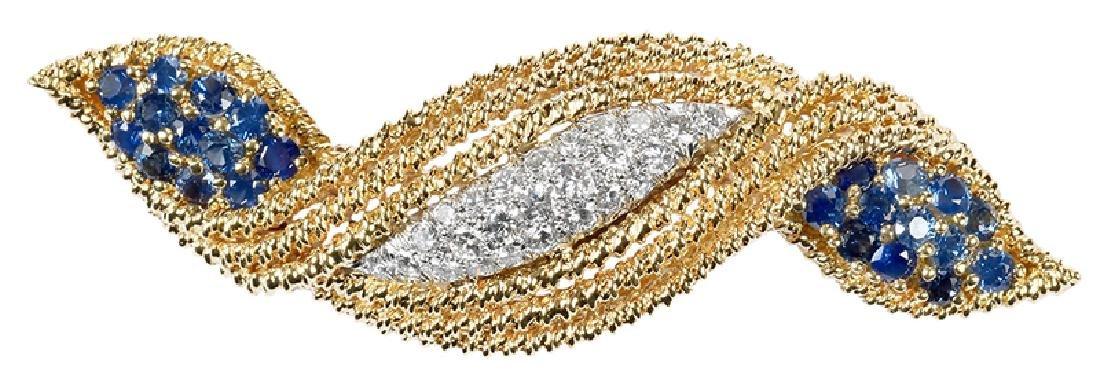 18kt. Diamond & Sapphire Brooch