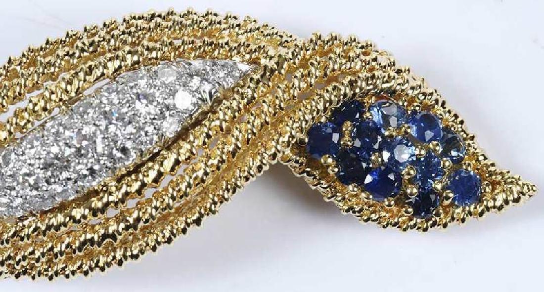18kt. Diamond & Sapphire Brooch - 4