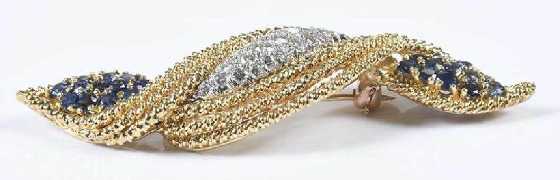 18kt. Diamond & Sapphire Brooch - 5