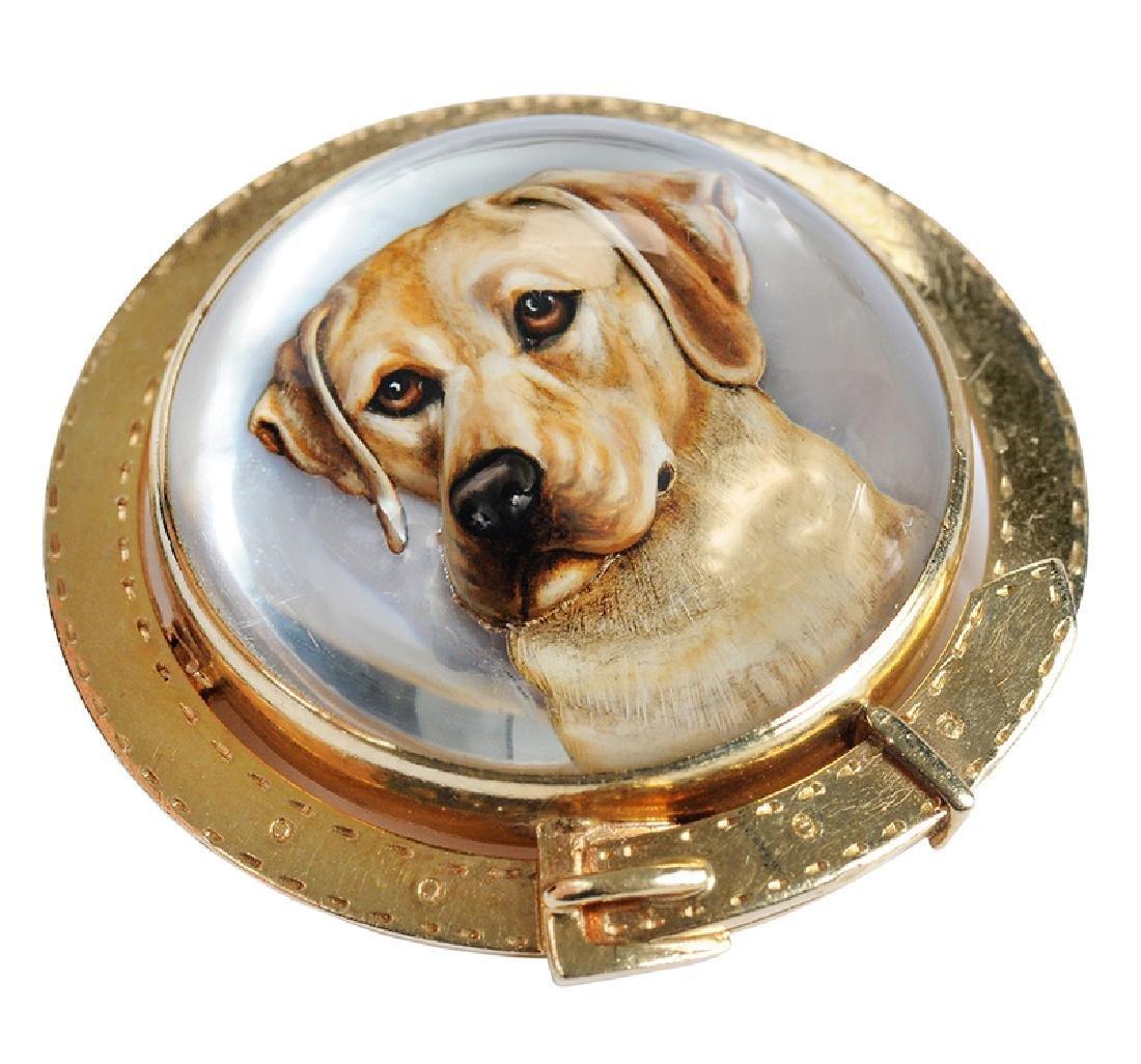 14kt. Reverse Crystal Dog Brooch