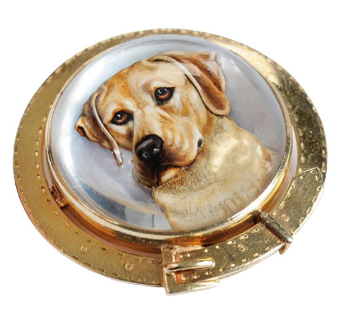14kt. Reverse Crystal Dog Brooch