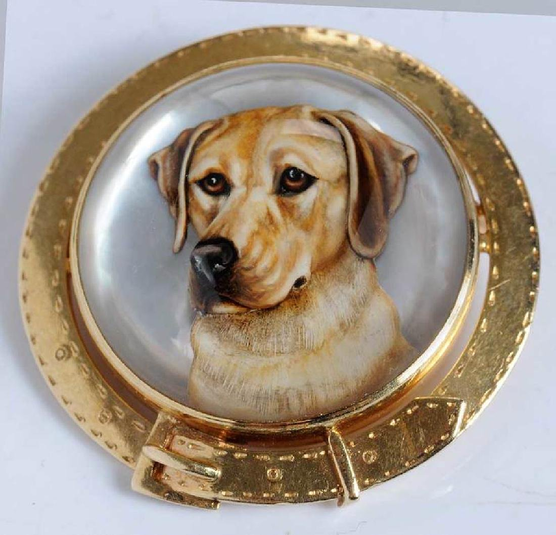 14kt. Reverse Crystal Dog Brooch - 2