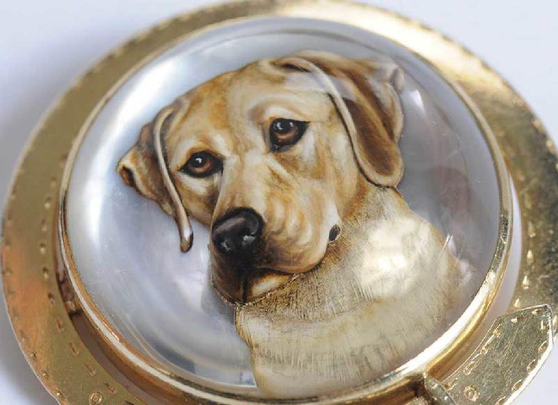 14kt. Reverse Crystal Dog Brooch - 3