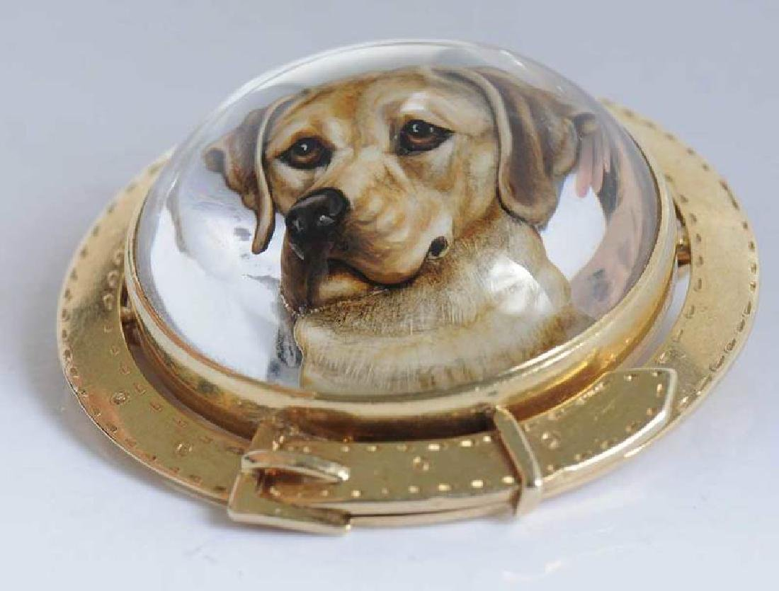 14kt. Reverse Crystal Dog Brooch - 4