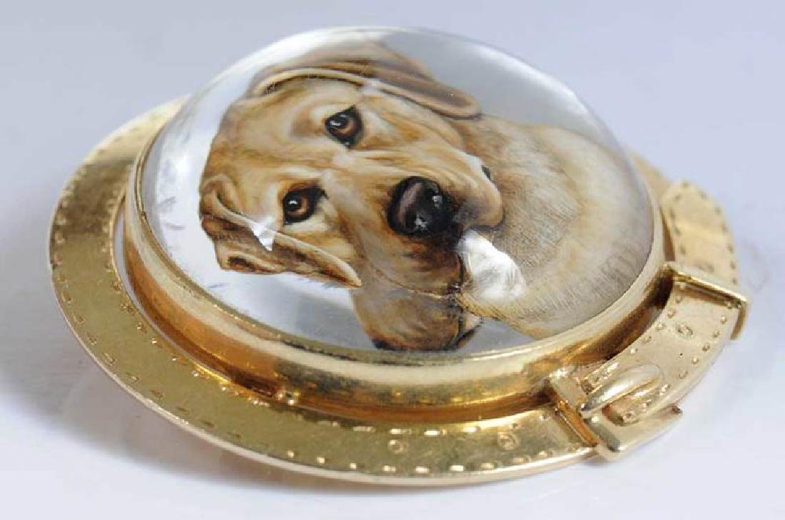 14kt. Reverse Crystal Dog Brooch - 5