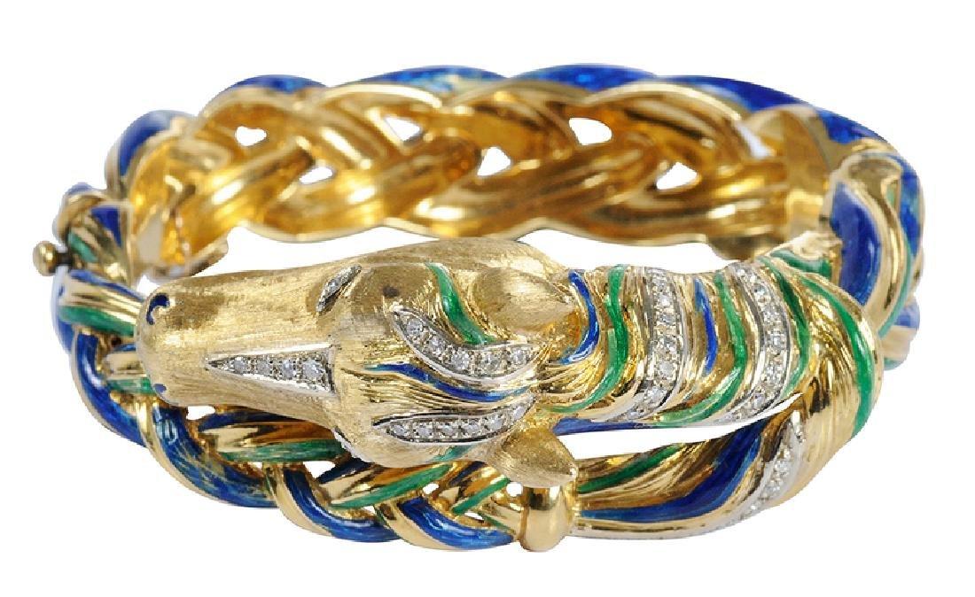 18kt., Diamond & Enamel Horse Bracelet