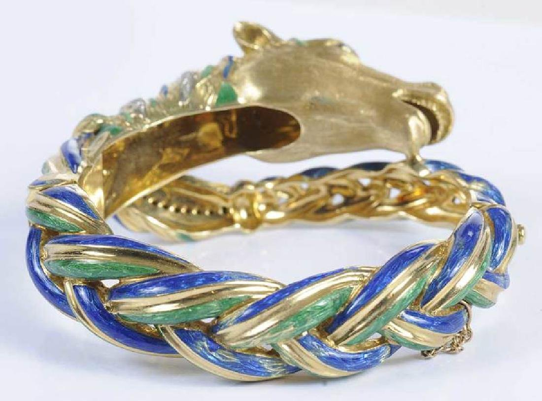 18kt., Diamond & Enamel Horse Bracelet - 3