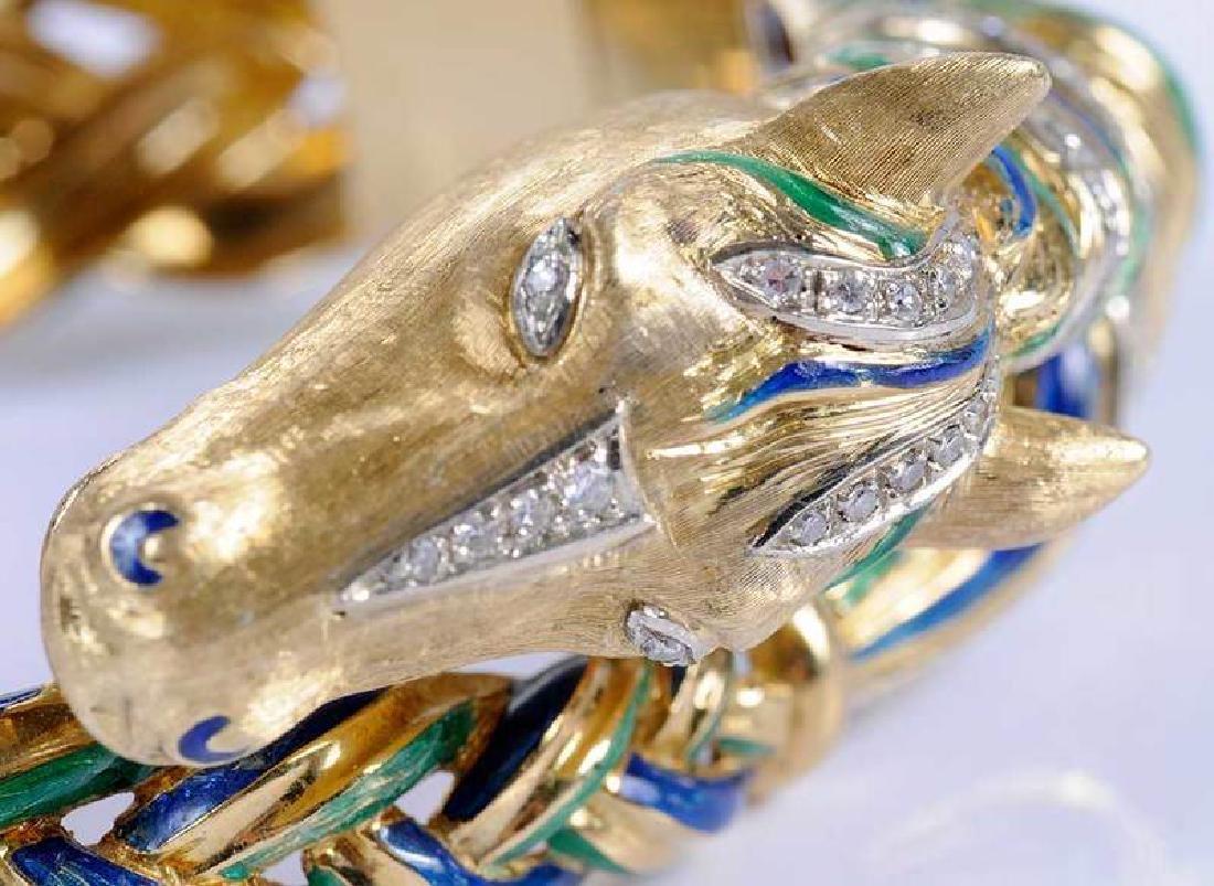18kt., Diamond & Enamel Horse Bracelet - 6