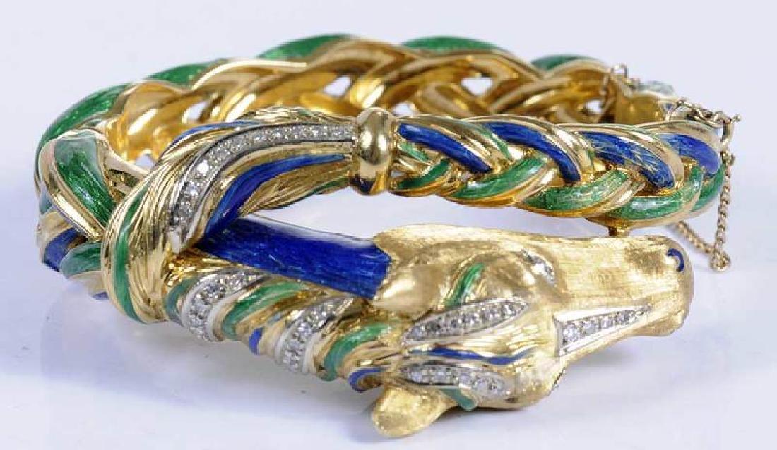 18kt., Diamond & Enamel Horse Bracelet - 7