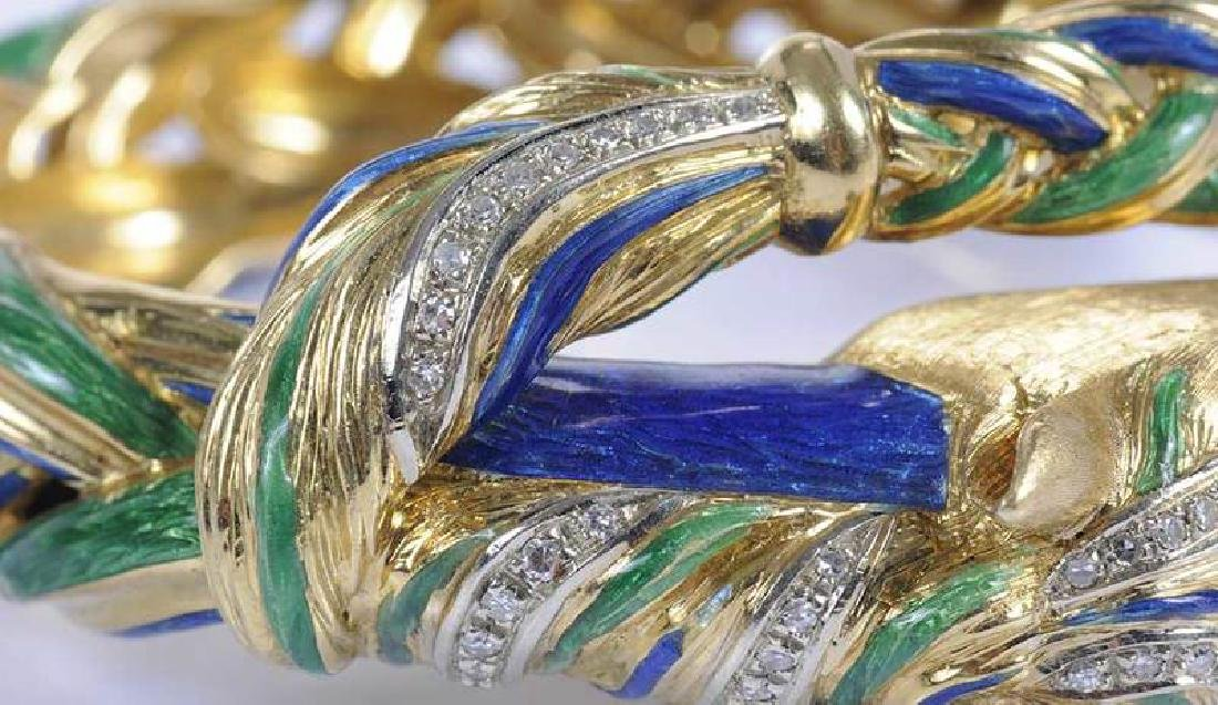 18kt., Diamond & Enamel Horse Bracelet - 8