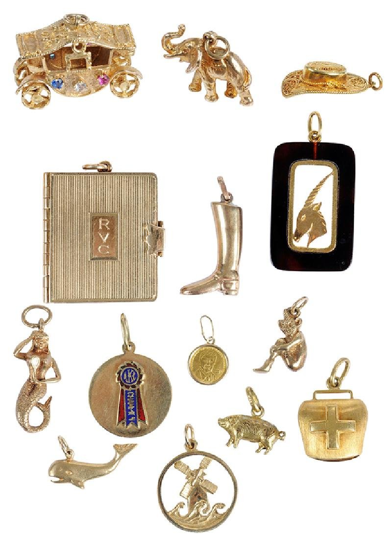 14 Gold Charms Including Cartier