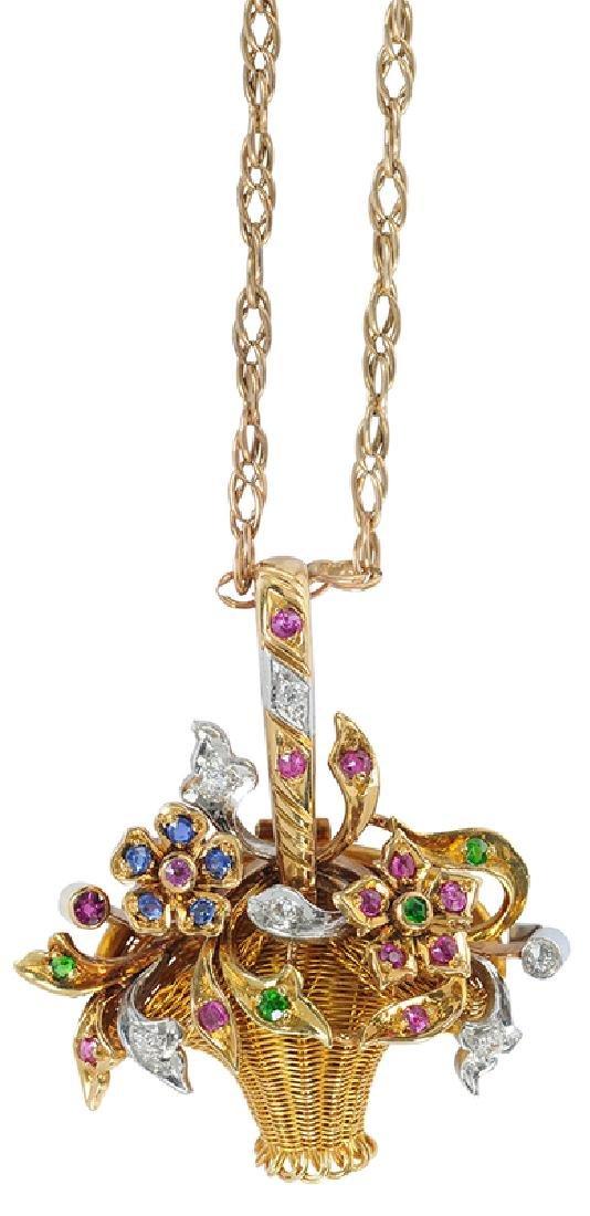 Platinum, Gold, Diamond & Gemstone Basket Pendant