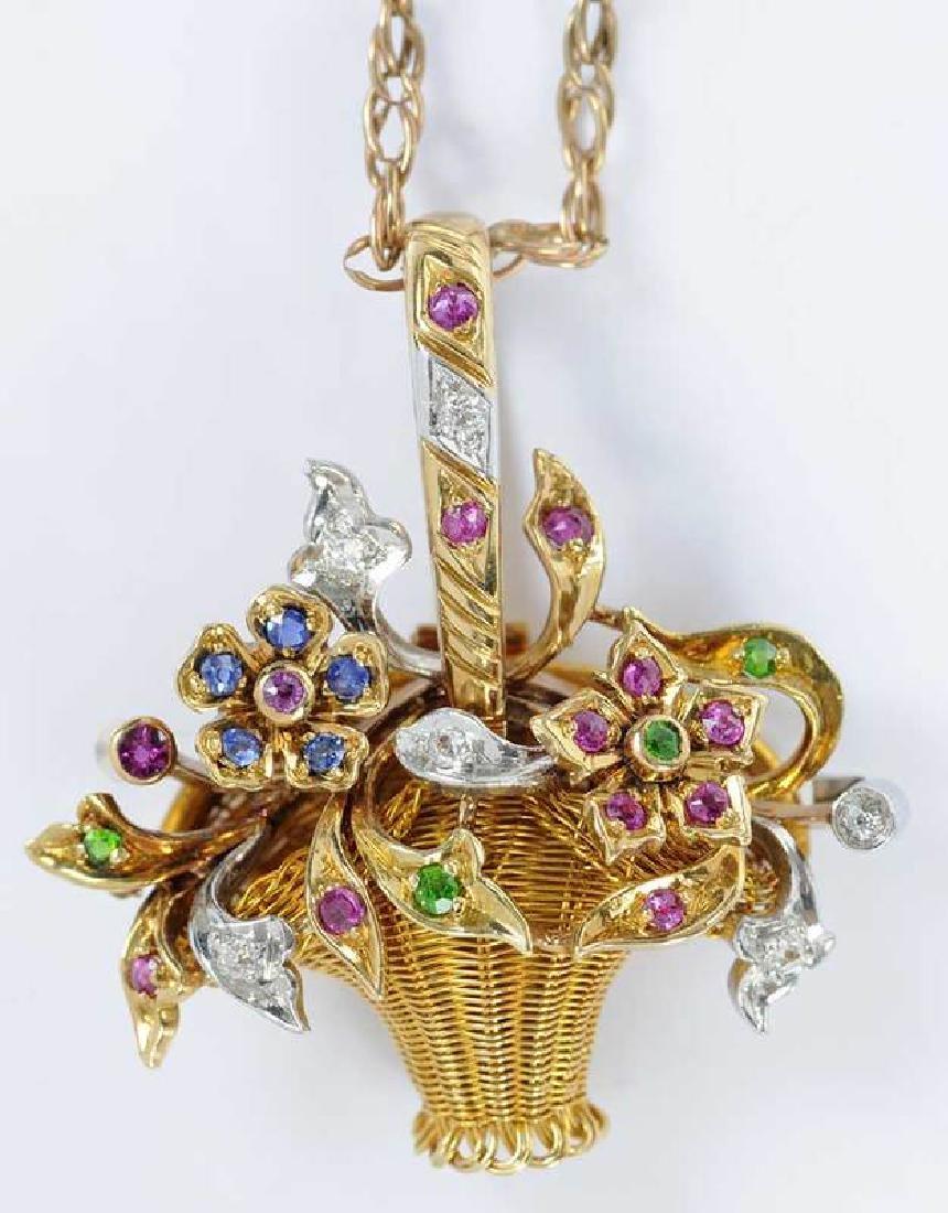 Platinum, Gold, Diamond & Gemstone Basket Pendant - 2