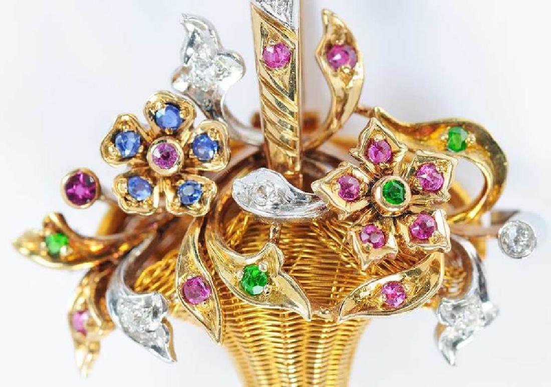 Platinum, Gold, Diamond & Gemstone Basket Pendant - 3