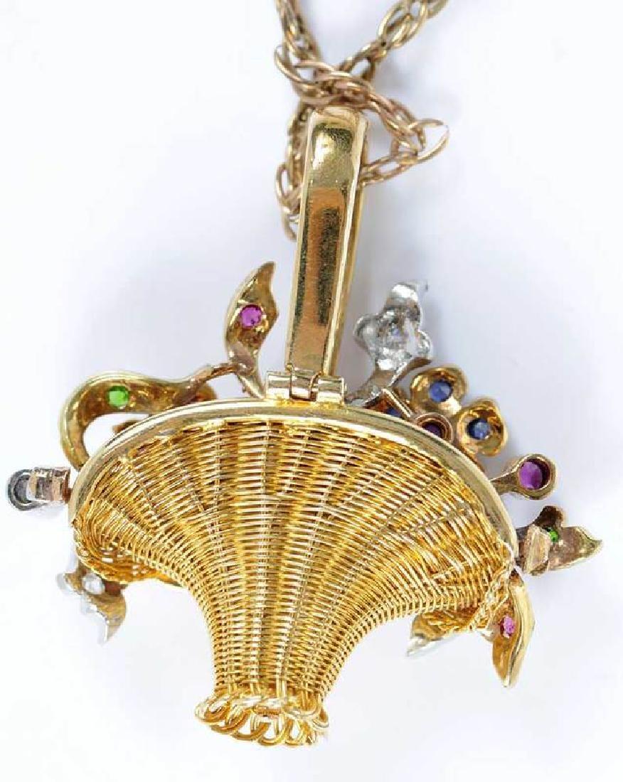 Platinum, Gold, Diamond & Gemstone Basket Pendant - 4