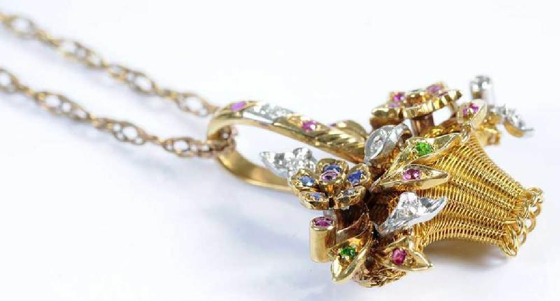 Platinum, Gold, Diamond & Gemstone Basket Pendant - 5