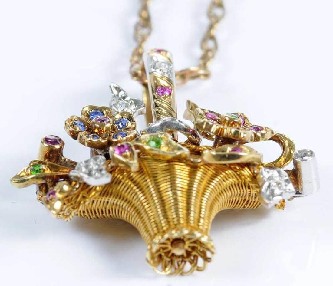 Platinum, Gold, Diamond & Gemstone Basket Pendant - 6