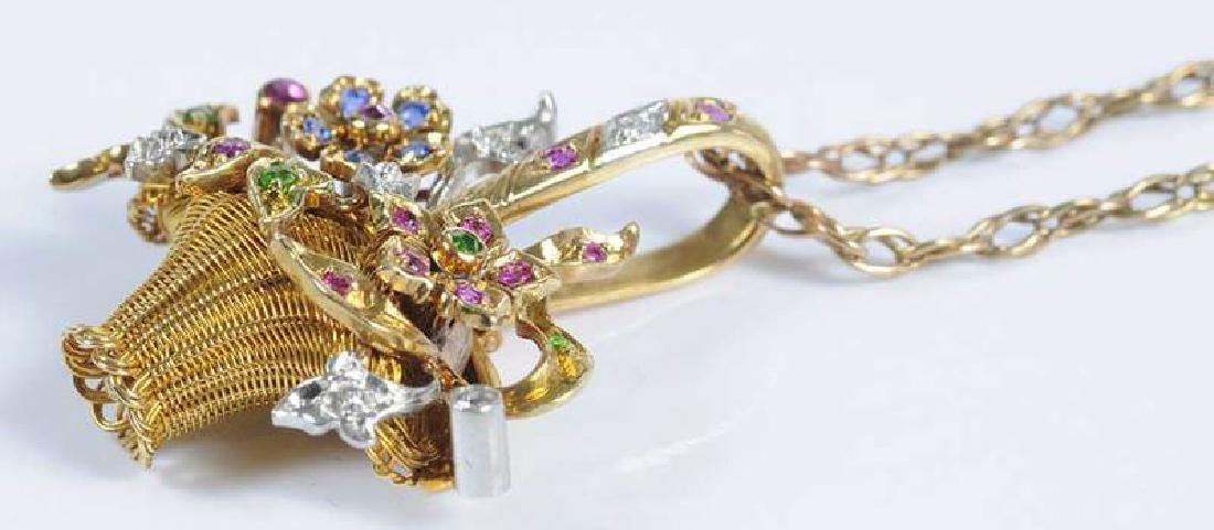 Platinum, Gold, Diamond & Gemstone Basket Pendant - 7