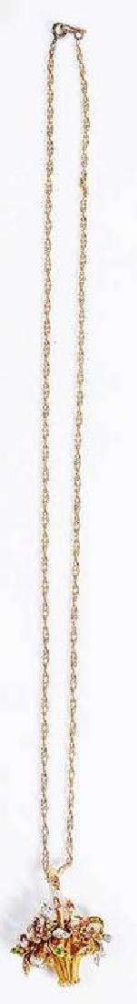 Platinum, Gold, Diamond & Gemstone Basket Pendant - 8