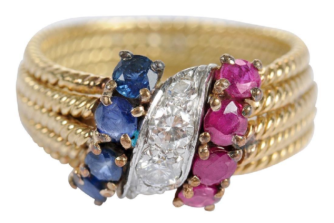 David Webb 18kt. Diamond, Ruby & Sapphire Ring