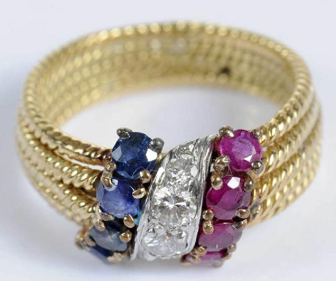 David Webb 18kt. Diamond, Ruby & Sapphire Ring - 2
