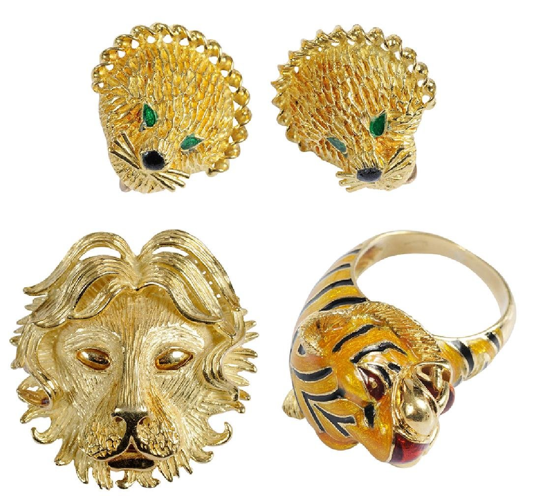 Three Pieces Gold Lion & Tiger Jewelry