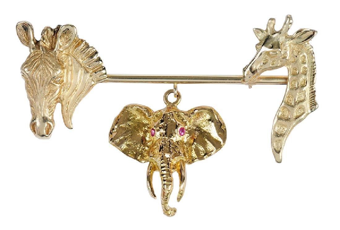 Gold & Ruby Animal Brooch