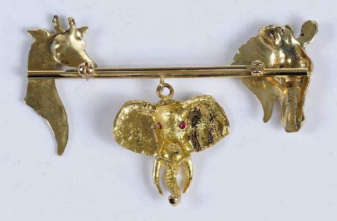 Gold & Ruby Animal Brooch - 5