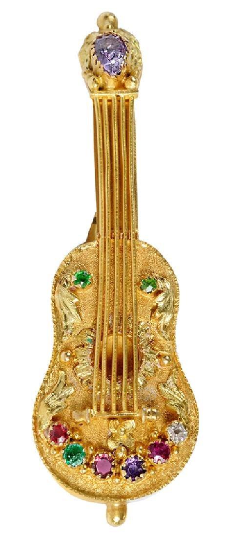 14kt. Gemstone Guitar Locket Brooch