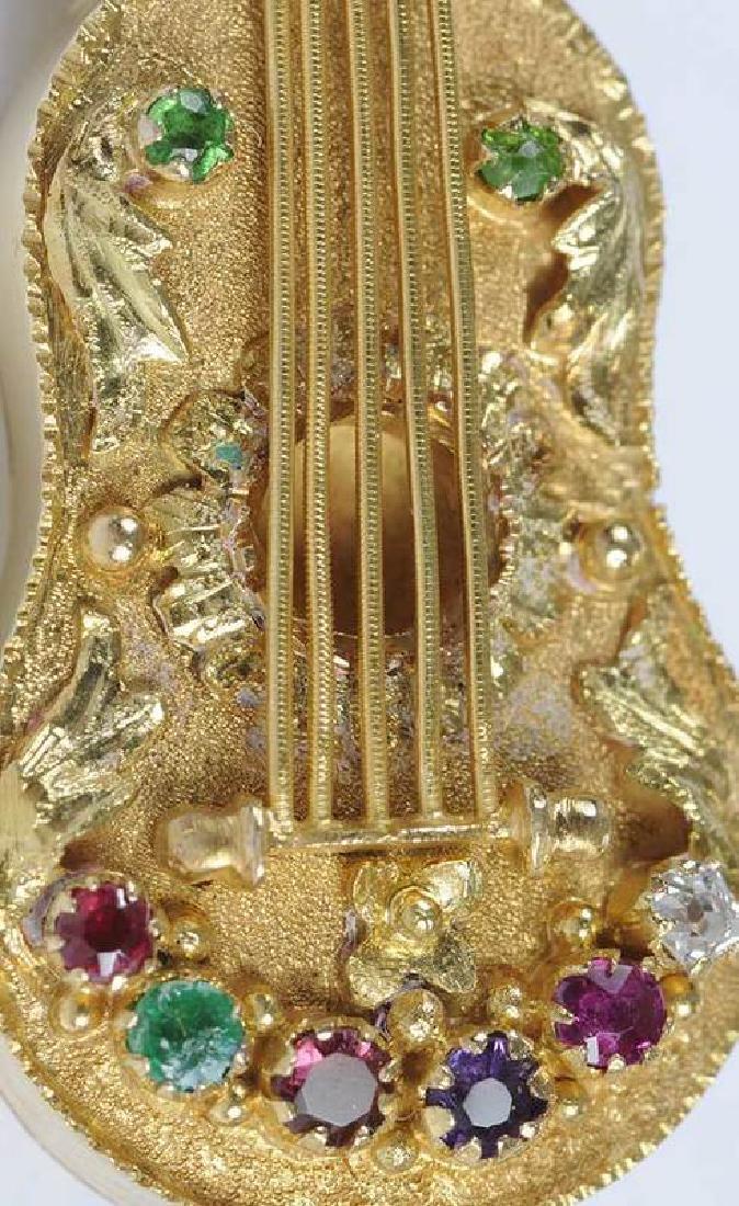 14kt. Gemstone Guitar Locket Brooch - 3