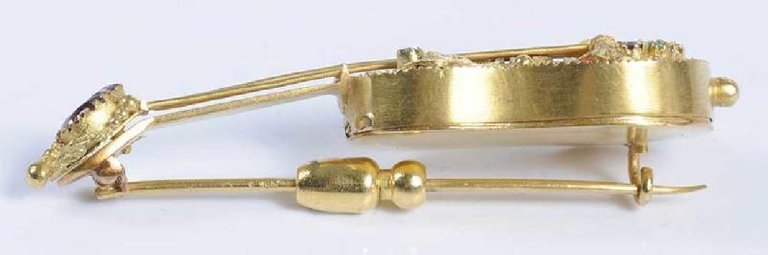 14kt. Gemstone Guitar Locket Brooch - 4