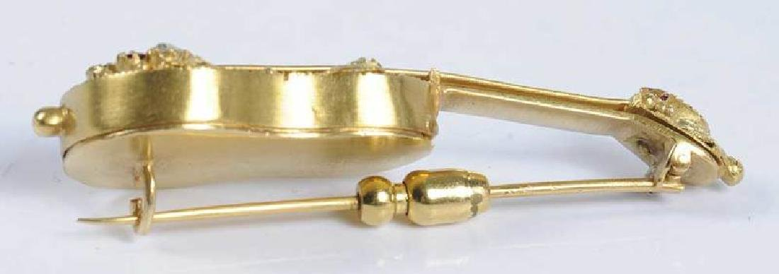 14kt. Gemstone Guitar Locket Brooch - 6