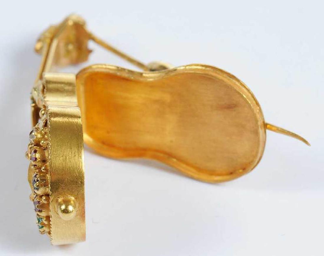 14kt. Gemstone Guitar Locket Brooch - 9