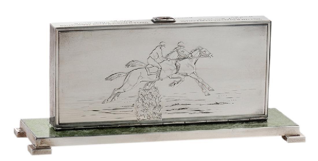 Sterling Cigarette Case Steeplechase Trophy