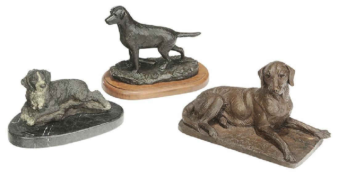 Three Dog Sculptures